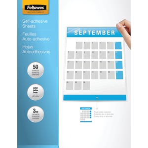FELLOWES 9 Inch. x 12 Inch. Self-Adhesive Laminating Sheets 50 pk 5221502