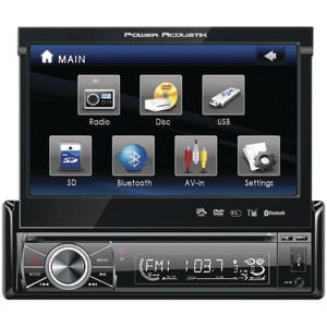 POWER ACOUSTIK 7 Inch. Single-DIN In-Dash Motorized Touchscreen LCD DVD Receiver with Detachable Face (With Bluetooth(R)) PTID-8920B