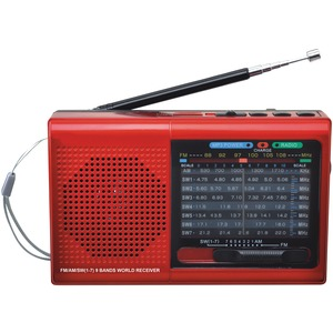SUPERSONIC(R) 9-Band Bluetooth(R) Radio SC-1080BT- RED