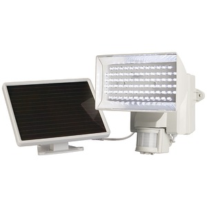 MAXSA INNOVATIONS Solar-Powered 80-LED Motion-Activated Outdoor Security Floodlight (White) 40225