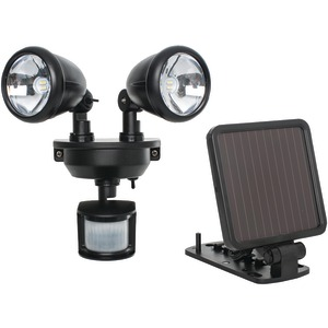 MAXSA INNOVATIONS Solar-Powered Dual-Head LED Security Spotlight (Black) 44215