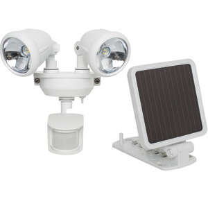MAXSA INNOVATIONS Solar-Powered Dual Head LED Security Spotlight (White) 44217