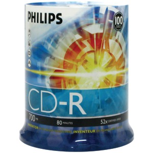 PHILIPS 700MB 80-Minute 52x CD-Rs (100-ct Cake Box Spindle) CDR80D52N/650