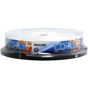 PHILIPS 700MB 80-Minute 52x CD-Rs (10-ct Cake Box Spindle) CR7D5NP10/17
