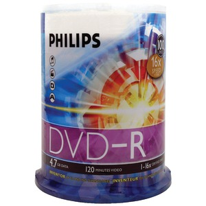 PHILIPS 4.7GB 16x DVD-Rs (100-ct Cake Box Spindle) DM4S6B00F/17