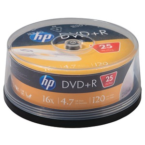 HP 4.7GB 16x DVD+Rs 25-ct Cake Box Spindle DR16025CB