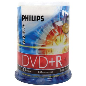 PHILIPS 4.7GB 16x DVD+Rs (100-ct Cake Box Spindle) DR4S6B00F/17
