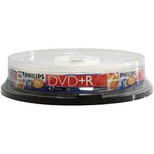 PHILIPS 4.7GB 16x DVD+Rs (10-ct Cake Box Spindle) DR4S6B10F/17