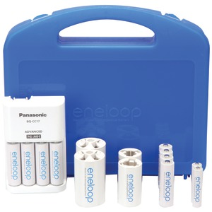 PANASONIC 4-Position Charger with eneloop(R) 2 AAA & 8 AA Batteries & 2 C & 2 D Spacers K-KJ17MCC82A