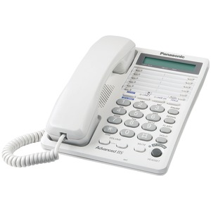 PANASONIC Integrated Corded Telephone System with Hearing Aid Compatibility & 16-Digit LCD (2-Line System) KX-TS208W