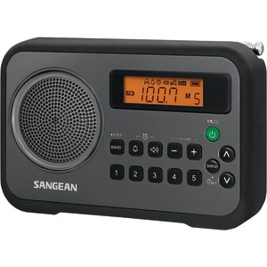 SANGEAN AM-FM Digital Portable Receiver with Alarm Clock (Black) PR-D18BK