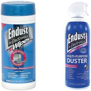 ENDUST 2 Pack: Electronics Duster & Anti-static Pop-up Wipes NOZAS70KIT