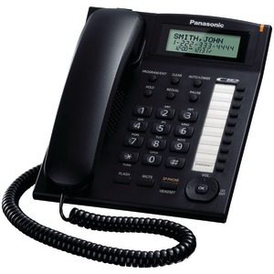 PANASONIC Single-Line Corded Integrated Phone System with 10 One-Touch Dialer Stations (Black) KX-TS880B