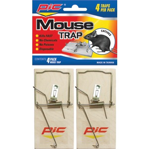 PIC Wood Mouse Traps 4 pk MTW4INN