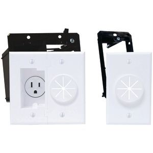 MIDLITE Power+Port(TM) Recessed Receptacle Kit & Wireport(TM) with Grommet 2A5251-1G-W