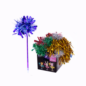 Colorful Metallic Pom Pom Pens - (Case pack of 36)