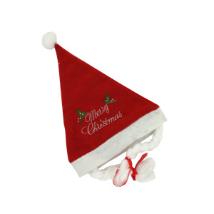 Santa Christmas hat with braids - (Case pack of 24)