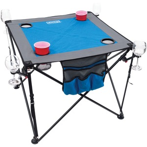 Folding Wine Table with Cupholders & Wineglass Holders (Blue/Gray)