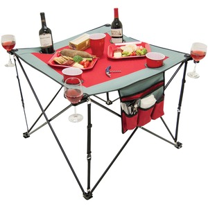 Folding Wine Table with Cupholders & Wineglass Holders (Gray/Burgundy)