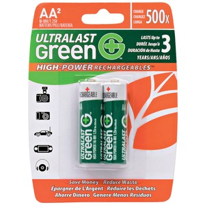 ULTRALAST(R) Green High-Power Rechargeables AA NiMH Batteries, 2 pk ULGHP2AA