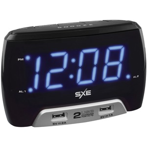 SXE Digital Alarm Clock with 2 USB Fast-Charging Ports SXE86046