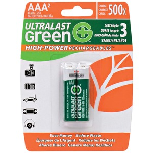 ULTRALAST(R) Green High-Power Rechargeables AAA NiMH Batteries, 2 pk ULGHP2AAA