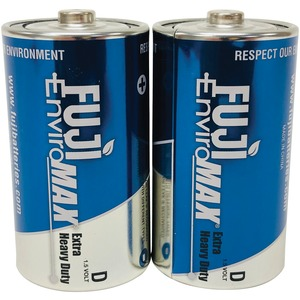 FUJI BATTERIES EnviroMax(TM) D Extra Heavy-Duty Batteries, 2 pk 3100BP2