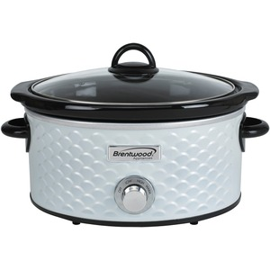BRENTWOOD(R) APPLIANCES 4.5-Quart Scallop Pattern Slow Cooker (White) SC-140W