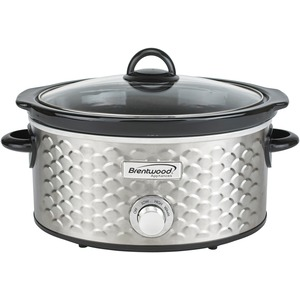 BRENTWOOD(R) APPLIANCES 4.5-Quart Scallop Pattern Slow Cooker (Stainless Steel) SC-140S