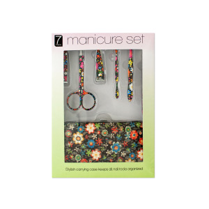 bulk buys Manicure Set with Stylish Floral Carrying Case - (Case pack of 4) OD495