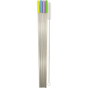 STARFRIT(R) Stainless Steel Reusable Straws with Silicone Tips, 4-Pack (Straight) 092848-006-0000