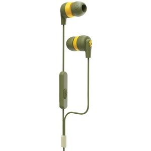 SKULLCANDY(R) Ink'd+ In-Ear Earbuds with Microphone (Moss Olive/Yellow) S2IMY-M687