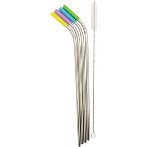 STARFRIT(R) Stainless Steel Reusable Straws with Silicone Tips, 4-Pack (Angled) 092847-006-0000