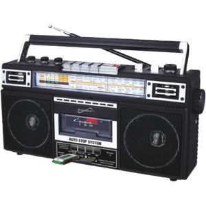 SUPERSONIC(R) Retro 4-Band Radio and Cassette Player with Bluetooth(R) (Black) SC-3201BT-BK