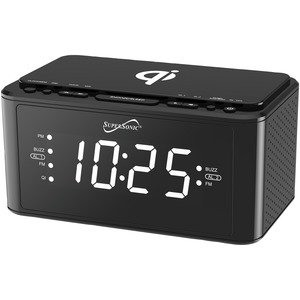 SUPERSONIC(R) Clock Radio with Qi(R) Wireless Charging Station (Black) SC-6030QI-BK