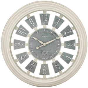 WESTCLOX(R) 16-Inch Antique White Panel Clock 36014AW-16
