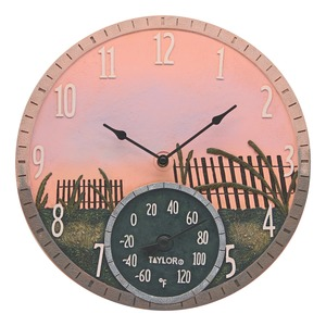 TAYLOR(R) PRECISION PRODUCTS 14-Inch Sea Oats Clock with Thermometer 92688T