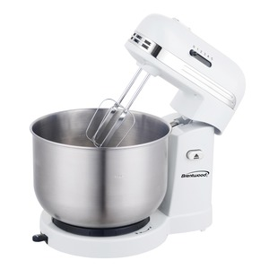 BRENTWOOD(R) APPLIANCES 5-Speed Stand Mixer with 3-Quart Stainless Steel Mixing Bowl (White) SM-1162W