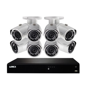 LOREX(R) 4K Ultra HD 16-Channel Security System with 3 TB NVR and Eight Super HD Bullet Security Cameras with Color Night Vision(TM) and Smart Home Control NK163-85CB