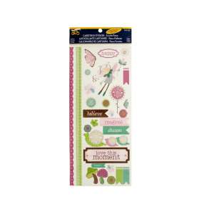 Magical Fairy Cardstock Stickers with Glitter & Embossed Accents - (Case pack of 24)