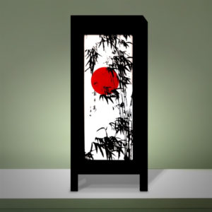 Mulberry Paper Lamp Japanese Sunset with Bamboos