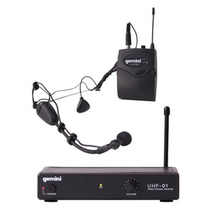 GEMINI(R) Single-Channel UHF Wireless Microphone System with Headset and Lavaliere Microphones UHF-01HL-F2