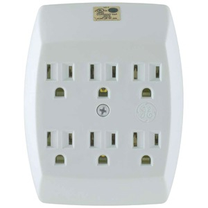 GE 6-Outlet Grounded Wall Tap 54947