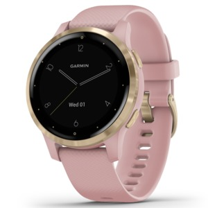GARMIN(R) vivoactive(R) 4S GPS Smartwatch (Light Gold Stainless Steel Bezel with Dust Rose Case and Silicone Band) 010-02172-31
