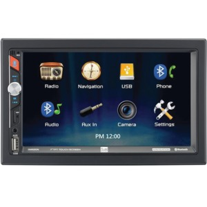 DUAL(R) 7-Inch Double-DIN In-Dash Mechless Receiver with Built-in Navigation and Bluetooth(R) DM620N