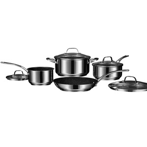 THE ROCK(TM) by Starfrit(R) Stainless Steel Non-Stick 8-Piece Cookware Set with Stainless Steel Handles