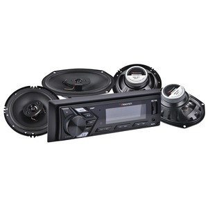 Single-DIN Car Audio Mechless System Package with 2 Pairs of Speakers