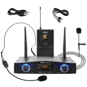 Compact UHF Pro Wireless Microphone System with Headset and Lavalier Microphones and Belt-Pack Transmitter