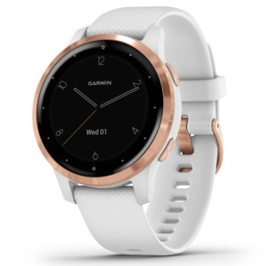 GARMIN(R) vivoactive(R) 4S GPS Smartwatch (Rose Gold Stainless Steel Bezel with White Case and Silicone Band) 010-02172-21