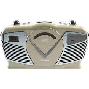 Retro-Style Portable CD Radio Boom Box (Creme)